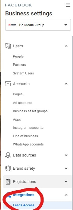 facebook business manager lead form access